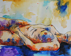 Figure in Watercolor and Ink. photo by mrs.alibeck