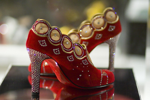 Christian Louboutin Red & Gold Rhinestone Pumps