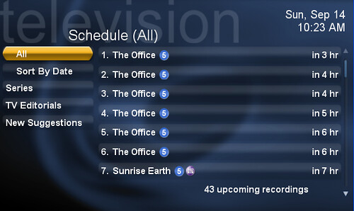 TV Schedule Menu in SageTV (SageMC UI)