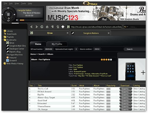 qtrax music player
