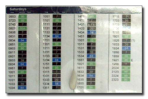 First Timetable display Detail