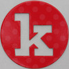 coloured card disc letter k