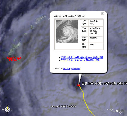 Typhoon14 Nabi 09AM 09/04 - Google Earth/Digital Typhoon