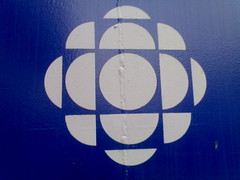 CBC logo in Blue at their Vancouver offices