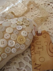 Vintage White buttons on wool heart photo by littlethings1