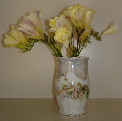 freesias in the estate sale vase