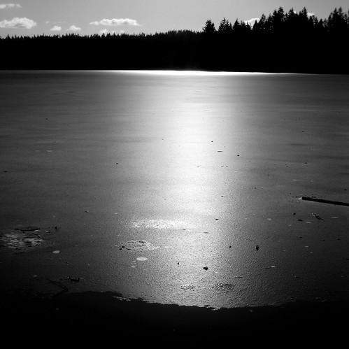 ice on cottage lake