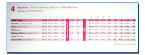 Ugobus timetable