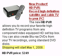 Hauppauge HD-PVR Website