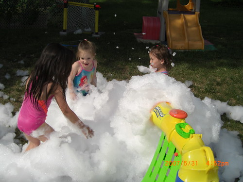In the backyard, playing with bubble foam