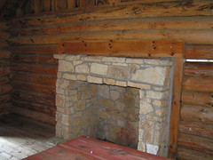 Fireplace inside of Laura Ingalls Wilder Cabin photo by Library Grandma