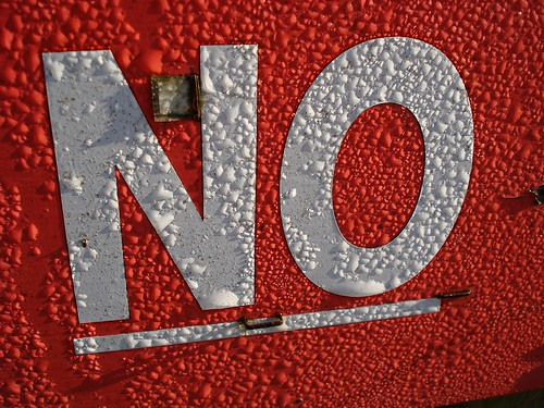 'No' Red sign lettering