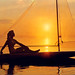 Postcard of Girl on Sailboat at Sunset