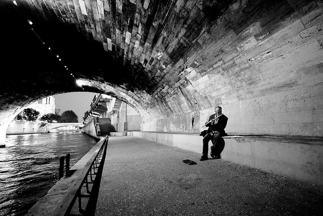 Flute Player under the Bridge