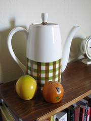 coffee pot with lemon and orange