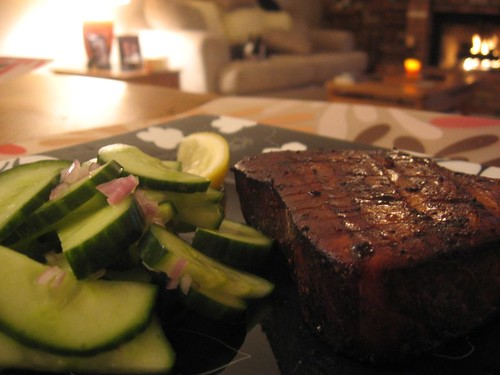 Dining Alone: Grilled Tuna Steaks with Cucumber Salad