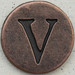 Copper Uppercase Letter V