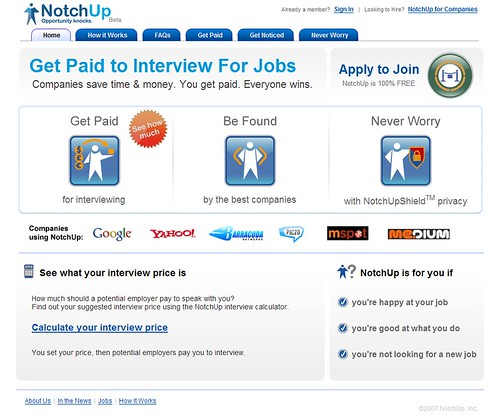 Notchup: Get paid to interview for jobs / 2008-01-28 / SML Screenshots (by See-ming Lee 李思明 SML)