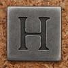 Pewter Uppercase Letter H