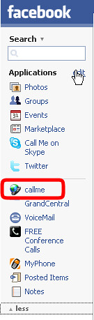 Callme_menu_in_Facebook