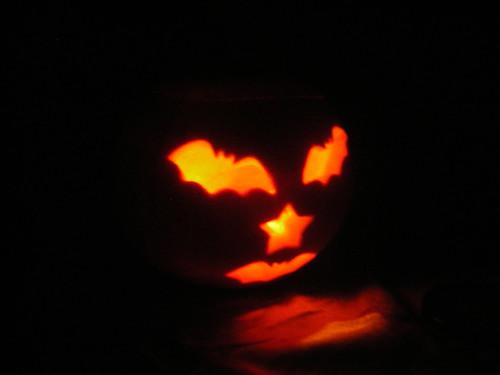 wife's pumpkin in the dark