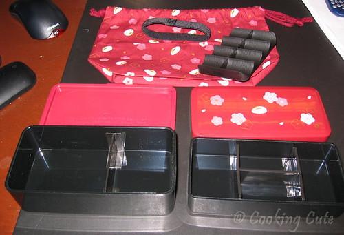 Components Of Usagi Bento Box Including Kinchaku