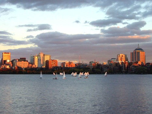 Boston skyline in the sunset.
