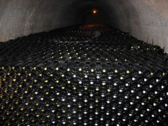 huge amount of champagne in the Taittinger cellars