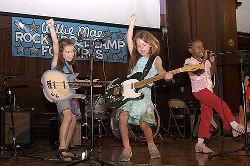 The Pink Slips performing at the Willie Mae Rock Camp for Girls.