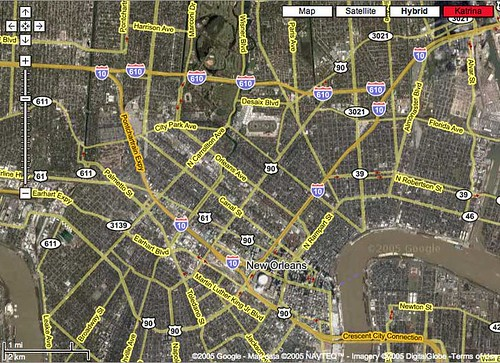 Google Maps - Katrina Image Overlay