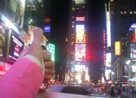 The pink cast rocks Times Square