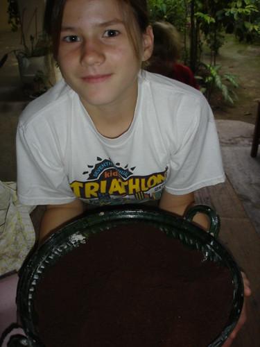 A big bowl of ground cacao.