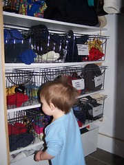 Mudroom closet baskets