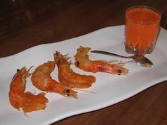 Crevettes tempura-poivron mousseux