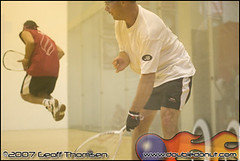 Racquetball Photo: Thomas Fuhrmann hits under Ruben Gonzales