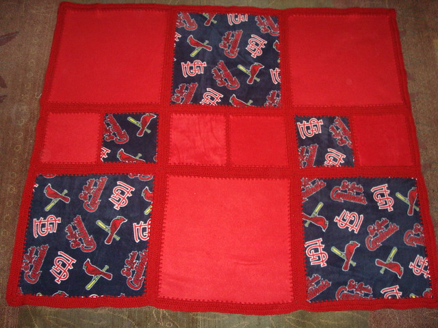 FLEECE BLANKET with Crocheted Edging