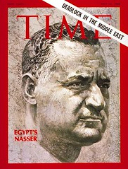 Presidnet Nasser on the cover of the time for the fifth time