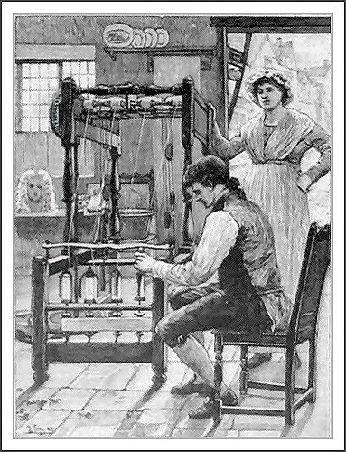 Arkwright and His Spinning Machine -- newsprint 1890 - not the Spinning Jenny Soap