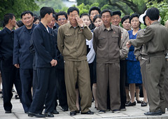 North Korean people in Juche tower photo by Eric Lafforgue