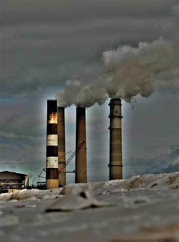 Coal plant stacks Electric Plant Photo