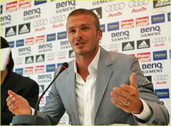 David Beckham of Real Madrid gives his last press conference as a Real player at the Valdebebas training grounds on Thursday in Madrid, Spain--- photo by David Beckham GLOOCE.COM