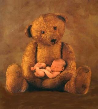 Bébé dans les bras d'un brave ours