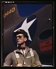 F.W. Hunter, Army test pilot, Douglas Aircraft Company plant at Long Beach, Calif.  (LOC) photo by The Library of Congress