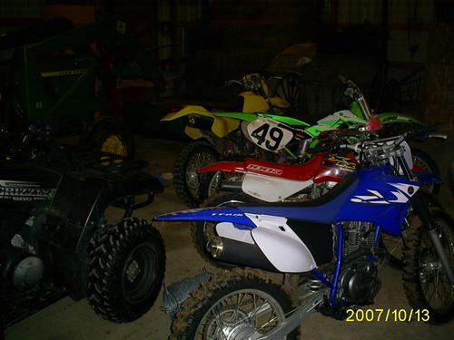 dirt bikes in barn
