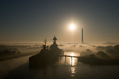 "Ship Portrait - ""USS Texas"" at San Jacinto Park in Fog photo by OneEighteen"