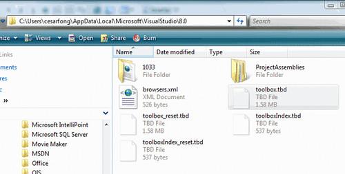 Reset Toolbox de Visual Studio 2005