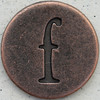 Copper Lowercase Letter f