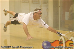 Racquetball Photo: Thomas Fuhrmann dives for a shot at National Singles