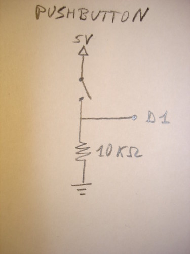 Arduino Theremin pushbutton schematic