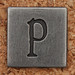 Pewter Lowercase Letter p